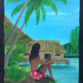 "Laurent Mora Artwork "" Girl from Tahiti"""
